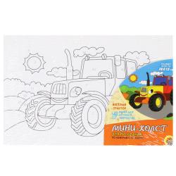 Картина по номерам 100*150мм, холст, на подрамнике Веселый трактор Рыжий кот Х-9361
