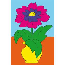 Картина по номерам 100*150мм, холст, на подрамнике Цветок Рыжий кот Х-8285