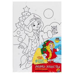 Картина по номерам 10*15 Рыжий кот Снежная красавица у елки холст на подрамнике ХМ-1235
