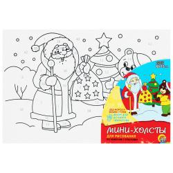 Картина по номерам 10*15 Рыжий кот Дед мороз и мишка у елки холст на подрамнике ХМ-1234