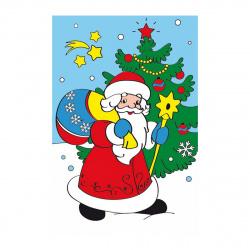 Картина по номерам 10*15 Рыжий кот Дед мороз холст на подрамнике Х-7305