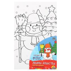 Картина по номерам 10*15 Рыжий кот Снеговик холст на подрамнике Х-7302