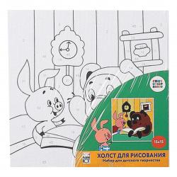 Картина по номерам 15*15 Рыжий кот Союзмультфильм Винни Пух холст на подрамнике Х-5449