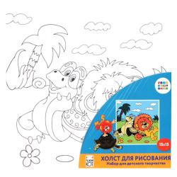 Картина по номерам 15*15 Рыжий кот Союзмультфильм Львенок и черепаха холст на подрамнике Х-5446
