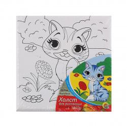 Картина на холсте 15*15 Рыжий кот Котенок на подрамнике Х-9816