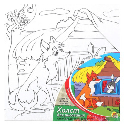 Картина на холсте 15*15 Рыжий кот Зайчик и лиса на подрамнике Х-0376