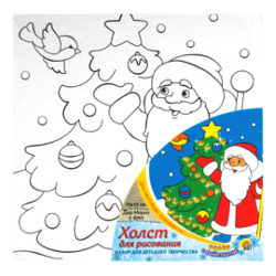 Картина на холсте 15*15 Рыжий кот Дед Мороз и елка на подрамнике с пайетками Х-8711