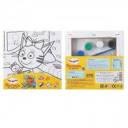 Картина на холсте 15*15 MULTI ART Три кота Карамелька с игрушкой на подрамнике 26733-TC/296766