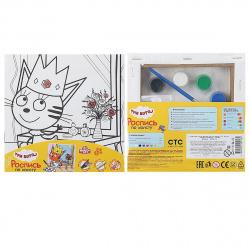 Картина на холсте 15*15 MULTI ART Три кота Карамелька Принцесса на подрамнике 26732-TC/296765