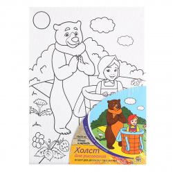 Картина на холсте 18*24 Рыжий кот Маша и медведь на подрамнике Х-9827