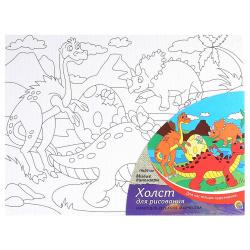 Картина на холсте 18*24 Рыжий кот Милые динозавры на подрамнике Х-9393