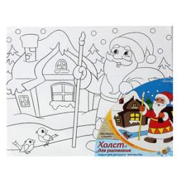 Картина на холсте 20*25 Рыжий кот Дед Мороз у домика на подрамнике Х-8717