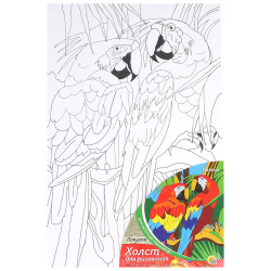 Картина на холсте 20*30 Рыжий кот Попугаи на подрамнике Х-9836