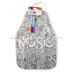 Набор для рисования фломастерами 4 цвета 33*46см КОКОС фартук Music 183734