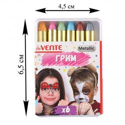 Грим для лица и тела 6 цветов 102гр Мелки металлик deVENTE 8078723