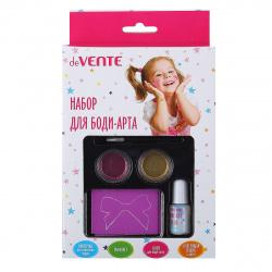 Набор для макияжа deVENTE (спец клей пудра 2цв трафар кисточка) 8080900