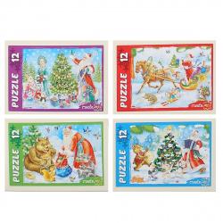 Пазлы 12 элементов 130*175 Рыжий кот CreateMe Новый год в лесу П12-7352