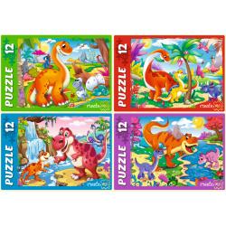 Пазлы 12 элементов 130*175 Рыжий кот CreateMe Яркие динозавры П12-0620