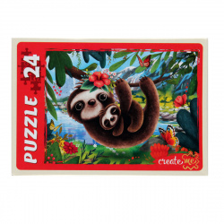 Пазлы MAXI 24 элемента 215*300 Рыжий кот CreateMe Милые ленивцы ПУ24-7187