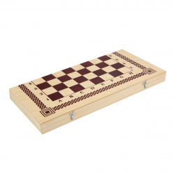 Игра настольная Шахматы, шашки 40*40см Рыжий кот поле деревянное фигуры пластиковые ИН-6431