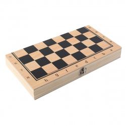 Игра настольная Шахматы, шашки, нарды 24*24см Рыжий кот поле деревянное фигуры деревянные AN02589