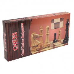 Игра настольная Шахматы, шашки, нарды 34*34см Рыжий кот поле деревянное фигуры деревянные AN02597