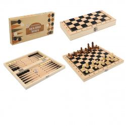Игра настольная Шахматы, шашки, нарды 34*34см Рыжий кот поле деревянное фигуры пластиковые AN02591