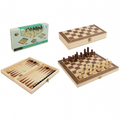 Игра настольная Шахматы, шашки, нарды 34*34см Рыжий кот поле деревянное фигуры деревянные AN02599