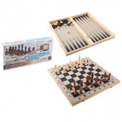 Игра настольная Шахматы, шашки, нарды 39*39см КОКОС поле деревянное фигуры деревянные 203567/3