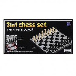 Игра настольная Шахматы, шашки, нарды магнитные 24*24см КОКОС поле пластиковое фигуры пластиковые 203566/1 (20)