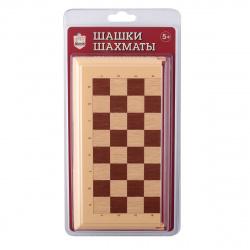 Игра настольная Шашки, Шахматы 21*21см Десятое Королевство поле пластиковое фигуры пластиковые 03880