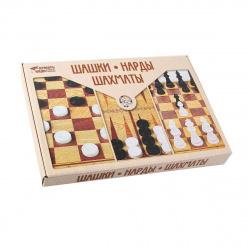 Игра настольная Шашки Нарды Шахматы (большие) 42*32,5см Десятое Королевство поле картонное фигуры пластиковые 03872