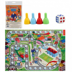 Игра настольная Ходилка Мини Рыжий кот Дорожные знаки ИН-3475