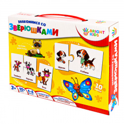 Игра развивающая Рыжий кот Bright kids Пазлы Знакомимся со зверюшками ИН-7622