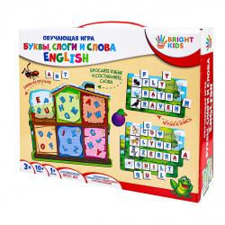 Игра развивающая Bright kids Буквы слоги и слова English картон Рыжий кот ИН-7632
