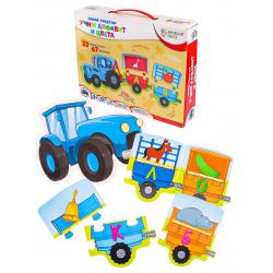 Игра развивающая Bright kids Синий трактор Учим алфавит и цвета картон Рыжий кот ИН-6143