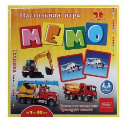 Игра развивающая МЕМО 36 карточек Hatber Техника 36Инм_16922