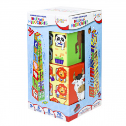 Кубики картонные 8шт Рыжий кот Bright kids Разумные детки Пирамидка Веселый небоскреб И-5033
