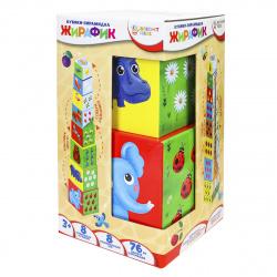 Кубики картонные 8шт Рыжий кот Bright kids Разумные детки Пирамидка Жирафик И-5032