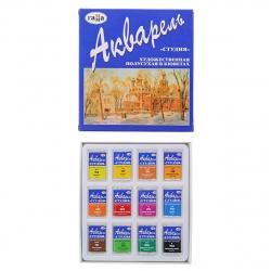 Акварель художественная 12 цветов 2,5мл Студия кюветы картонная упаковка 215002
