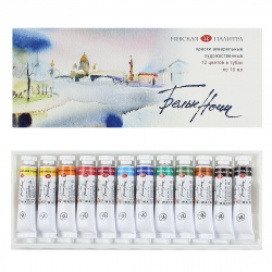 Акварель художественная 12 цветов 10мл Белые ночи Невская палитра в тубах картонная упаковка 19411227