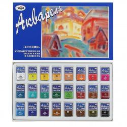 Акварель художественная 24 цвета 2,6см3 Студия кюветы картонная упаковка 215001