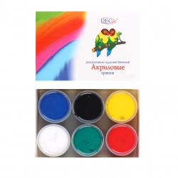 Краска акриловая 6 цветов, 20мл, банка Экспоприбор 24-6.20-50D