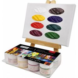 Краска акриловая художественная 8 цветов, 20мл, банка, пластиковая коробка ТАИР 110302001