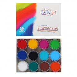 Краска акриловая художественная 12 цветов, 20мл, банка Экспоприбор 24-12.20-50