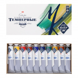 Краски темперные 10 цветов 46мл Мастер-Класс Невская палитра картонная коробка 1641032