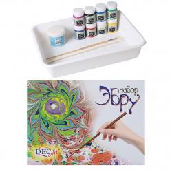 Краски для эбру 8 цветов 50мл DecArt загуститель, лоток, инструменты 65-8.40-N1