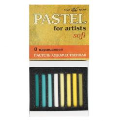 Пастель сухая художественная 8 цветов Аква-колор катронная коробка АПХ8-14