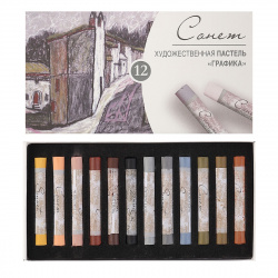 Пастель сухая художественная 12 цветов Невская палитра Сонет Графика картонная коробка 7141243