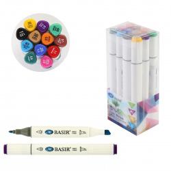 Набор маркеров для скетчинга 12цв двусторонние 1-7мм Basir МС-5189-12